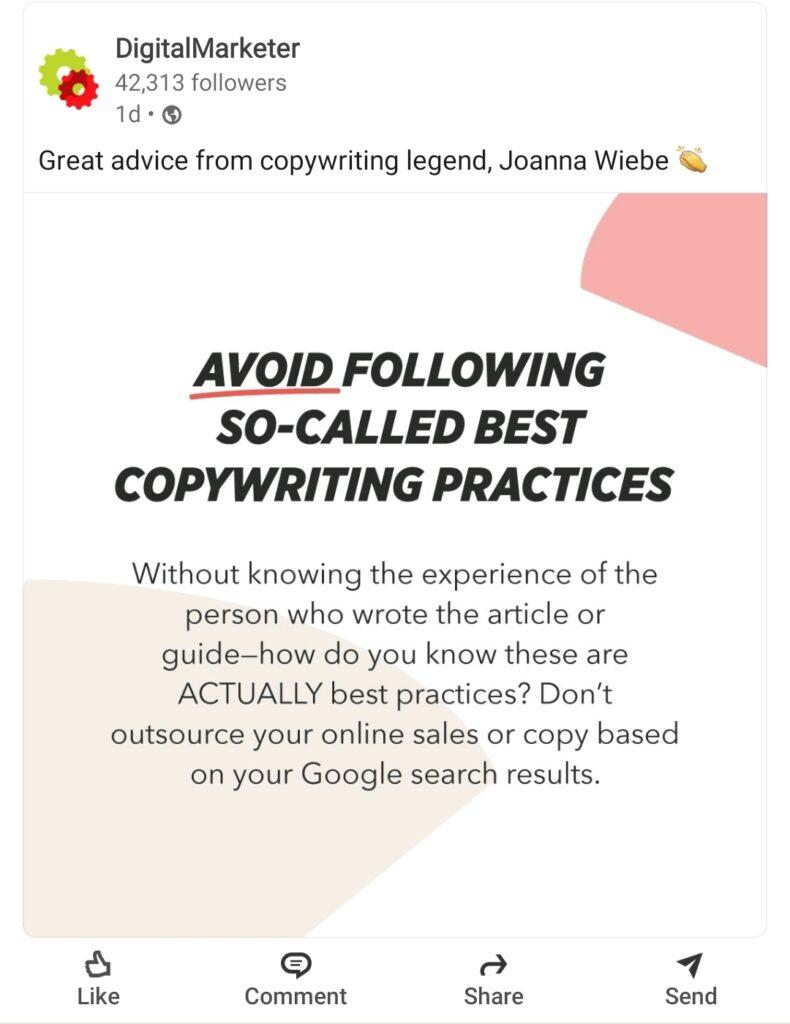 Marketing advice: avoid copywriting best practices
