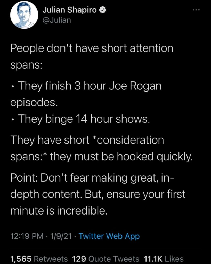 People don't have short attention spans
